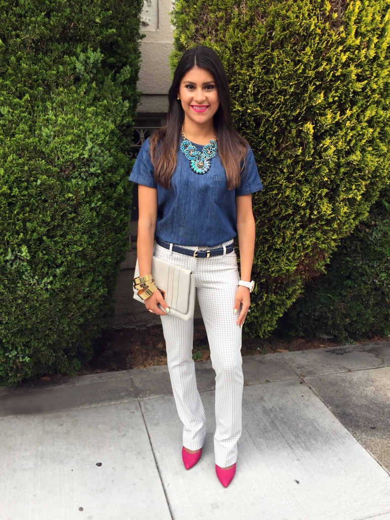 Chambray top and trousers